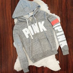 PINK Zip Up Hoodie Gray White with Coral Stripe